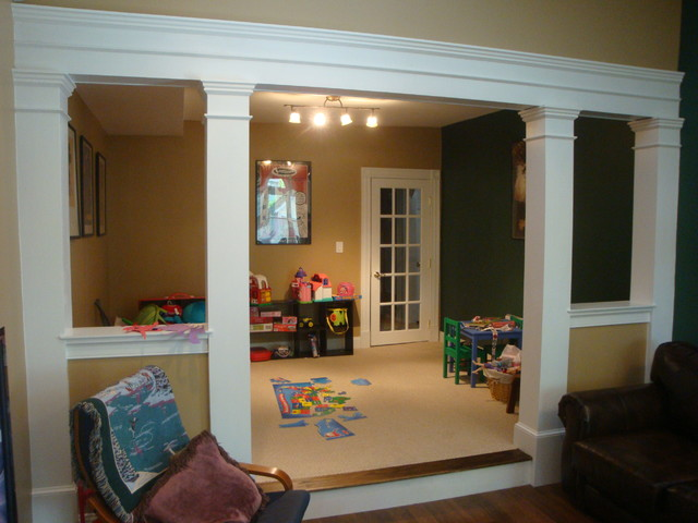Playroom renovation traditional family room new york for Playroom living room ideas