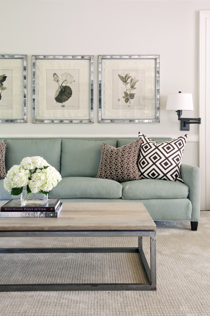 Lovely Transitional Family Room by Tobi Fairley Interior Design