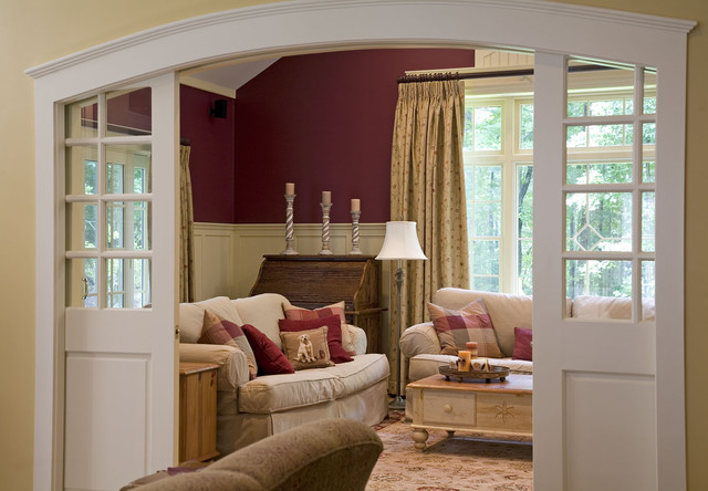 Pocket door with glass panels houzz elegant enclosed family room photo in boston with red walls planetlyrics Gallery