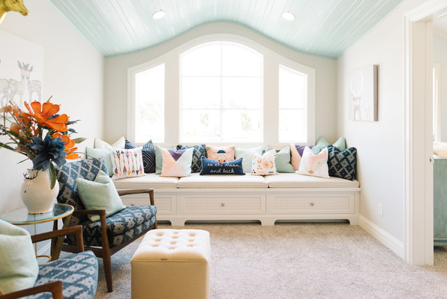 Family room - transitional carpeted family room idea in Salt Lake City with white walls