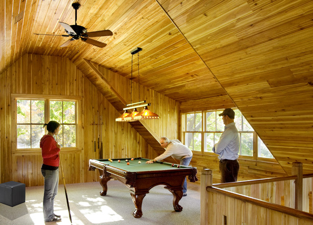 Pool table and recreation room contemporary-family-room