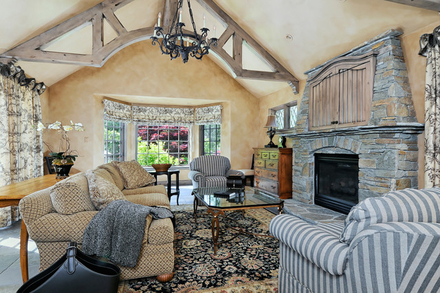 Portola Valley French Country Custom Home Traditional Family Room