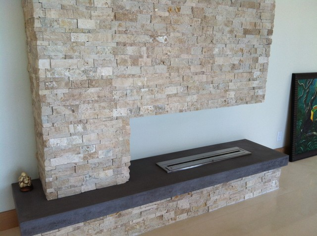 Modern Stone Fireplaces post modern stone fireplace - modern - family room - tampa -