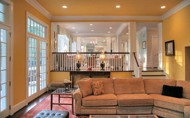 Potomac, MD Brick Ranch Home to Nantucket Style traditional-family-room