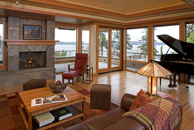 Prairie Style Architecture Contemporary Family Room Seattle By Gelotte Hommas Drivdahl