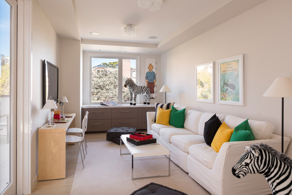 Inspiration for a mid-sized contemporary family room remodel in San Francisco with no fireplace and a wall-mounted tv