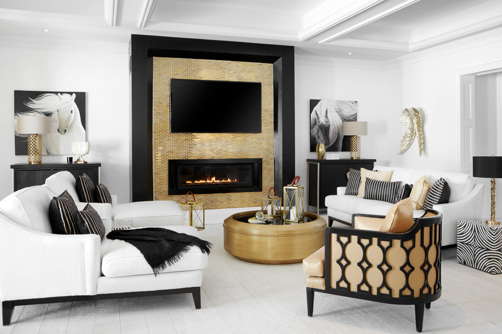 Example of a large trendy open concept light wood floor family room design in Toronto with white walls, a ribbon fireplace, a tile fireplace and a wall-mounted tv