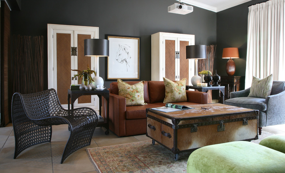 Family room - eclectic family room idea in Other with black walls