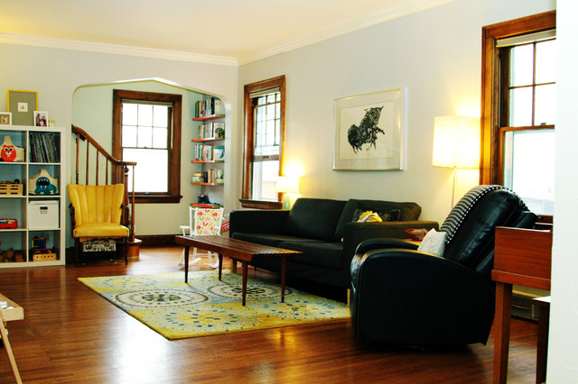 Professor's Art Filled Haven In The City midcentury-family-room