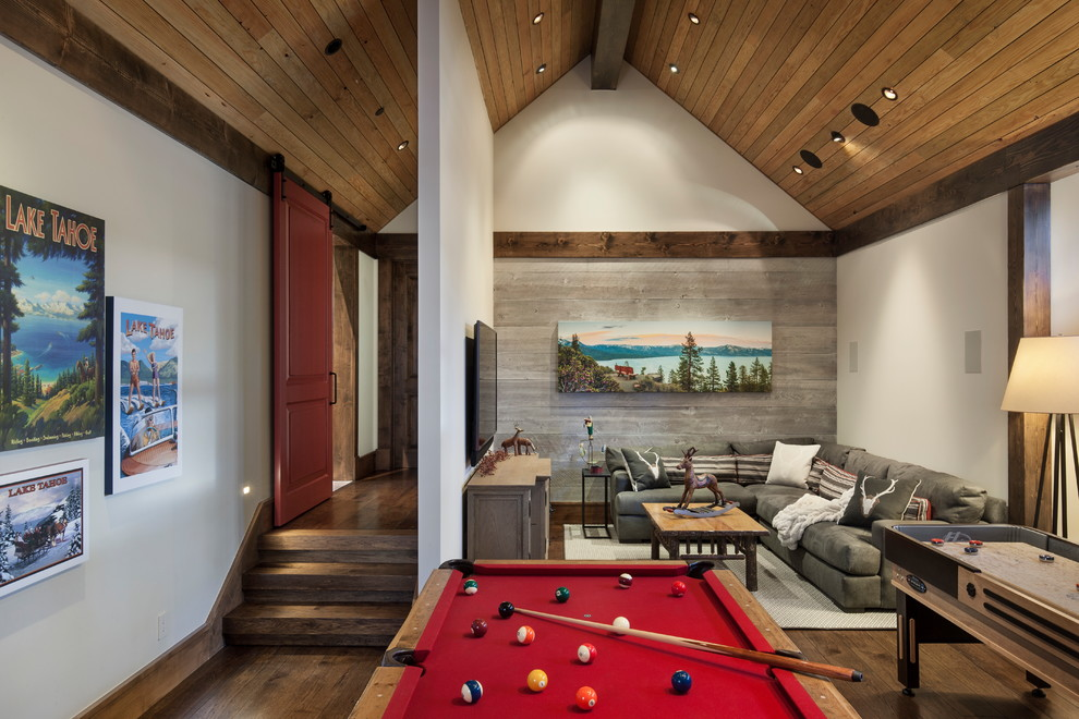 Inspiration for a rustic enclosed dark wood floor and brown floor family room remodel in Sacramento with white walls, no fireplace and a wall-mounted tv