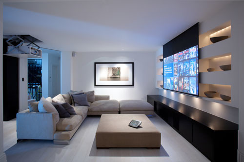 Projector Screens, Mirror TV's & Creative TV Mounts modern-family-room