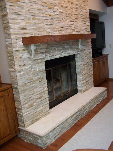 Quartz Fireplace Surround : Quartz fireplace chase traditional family room other
