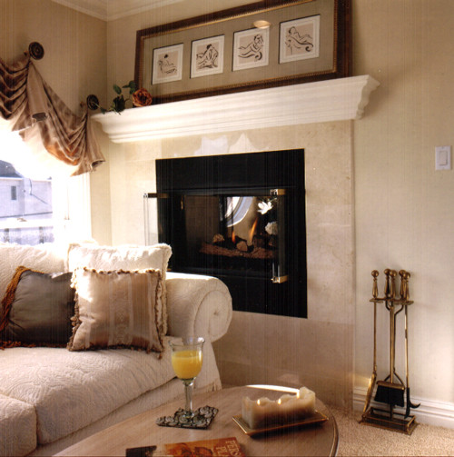 Raised Fireplace Family Room New York by American