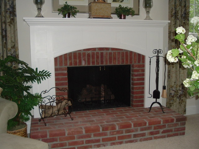 Raised Hearth Brick Arts Craft Custom Mantel Traditional Family And Games