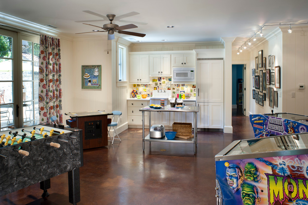Example of a mid-sized classic open concept game room design in Other