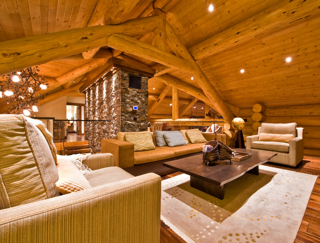 Ranch Log Home Contemporary Family Room Other Metro