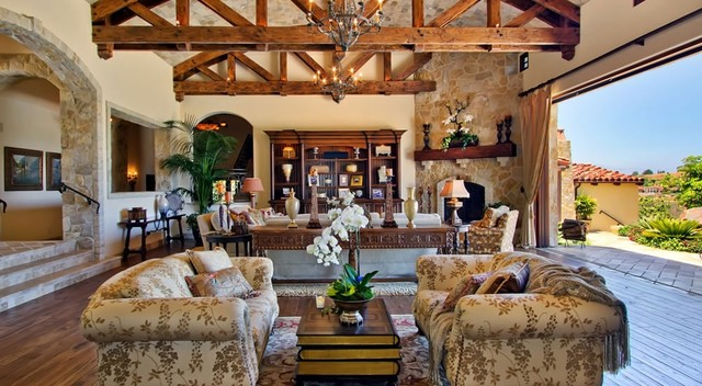 Ranch Santa Fe Indoor-Outdoor Living - Traditional - Family Room ...