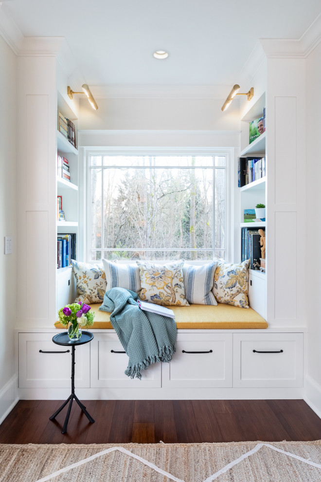 Family room library - large transitional open concept bamboo floor family room library idea in Seattle with white walls, no fireplace and no tv