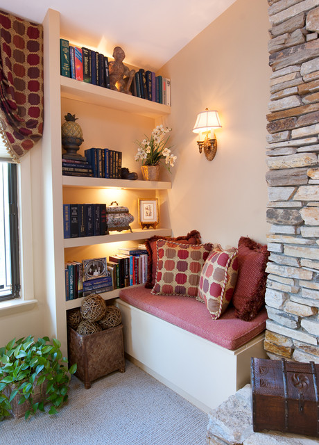Reading nook with book shelves traditional family room Reading nook in living room