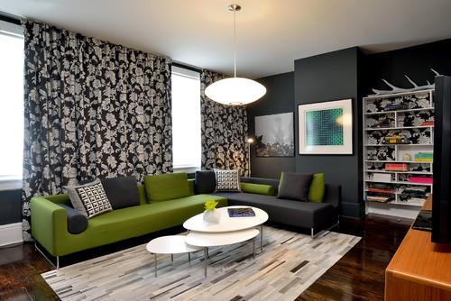 salon gris contemporain et canapé bicolore vert et gris
