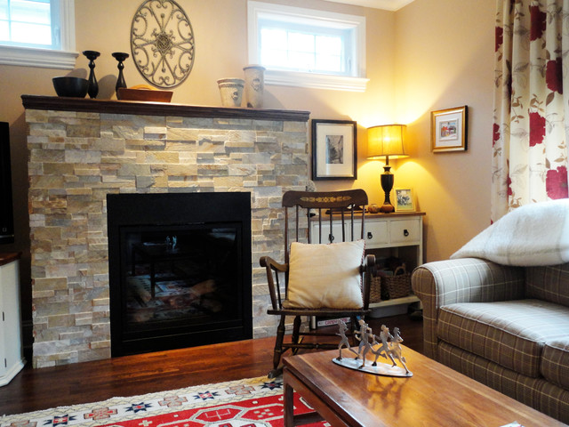Real Stone Fireplace Traditional Family Room