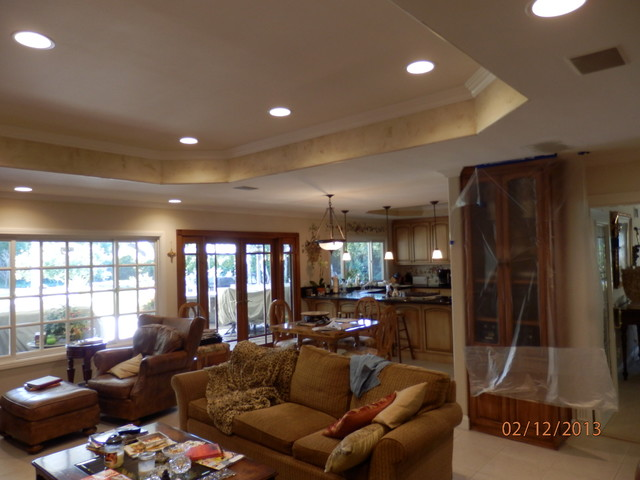 Recessed Ceiling And Lighting Mediterranean Family Room Orange County By Diamond Custom