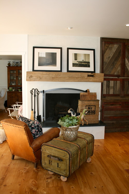 Reclaimed barnwood cabinet and mantle eclectic family room