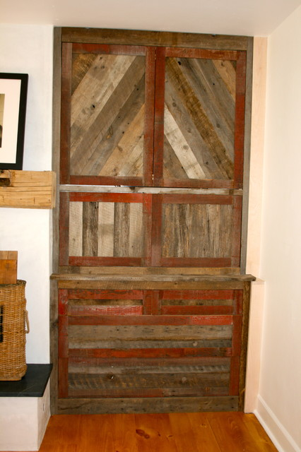 Reclaimed barnwood cabinet and mantle eclectic-family-room
