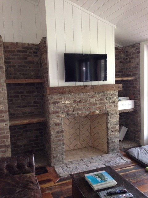 Reclaimed Fireplace Mantels traditional-family-room