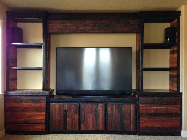 Custom Reclaimed Wood Entertainment Center Rustic
