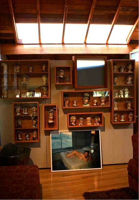 Reclaimed Wood Display Cabinets for a collection of Porcelain Heads - Eclectic - Family Room ...