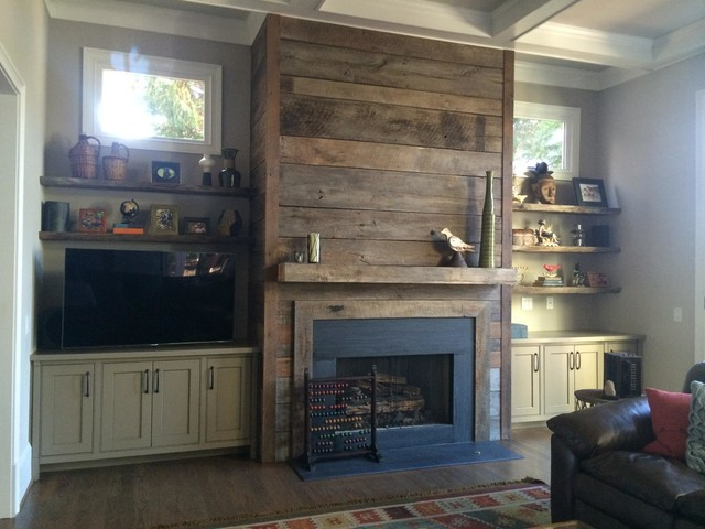 Reclaimed Wood Fireplace Surround And