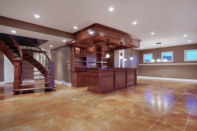 Recreation room w media center wet bar traditional family room - Family room bar designs ...