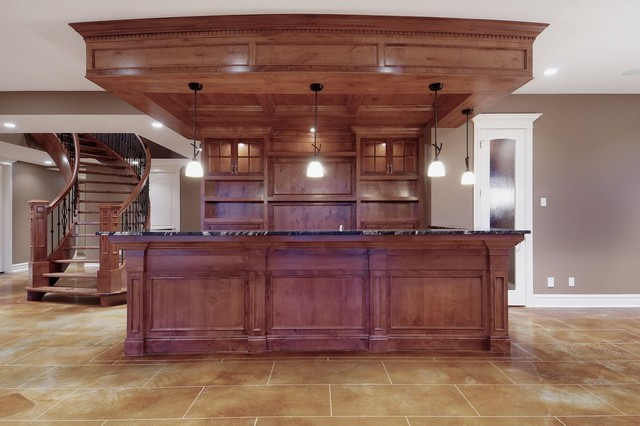 Recreation room w media center wet bar traditional for How to build a wet bar at home