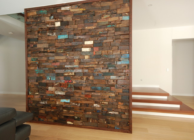 Recycled Timber Feature Wall Family Room Brisbane By