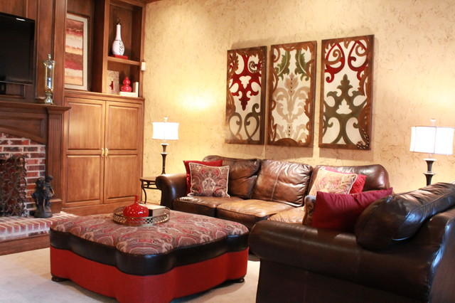 red and gold formal living room traditional family