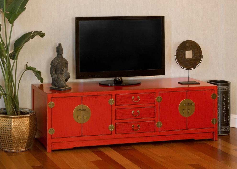 Red Media Cabinet Chinese Ming Style