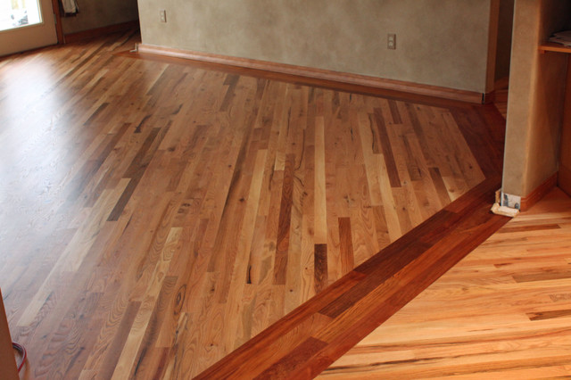 Red Oak Flooring With Brazilian Cherry Border Family