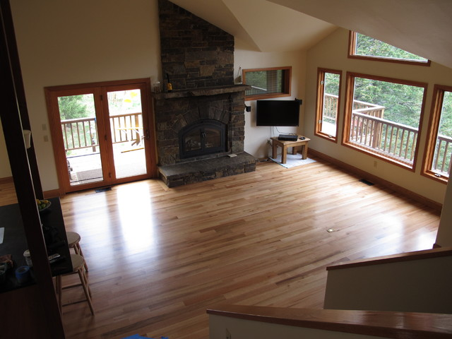 Red Oak installation and Finish traditional-family-room
