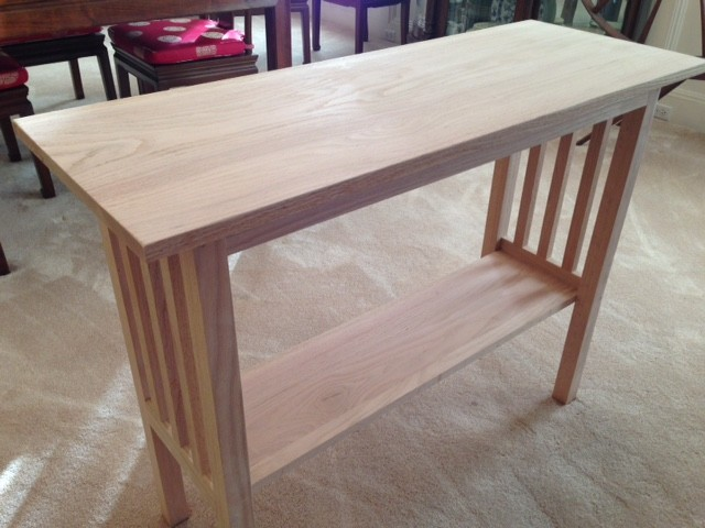 Red Oak Mission Style Console Table (repurposed, Unfinished Wood)  Craftsman Family