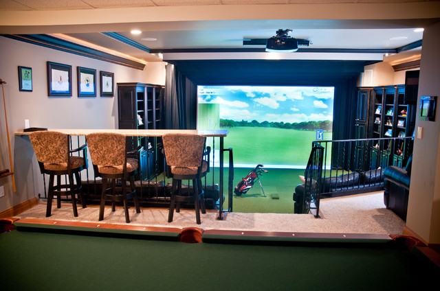 river glen basement expansion golf simulator eclectic basement