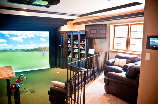 River Glen Basement Expansion Golf Simulator Eclectic