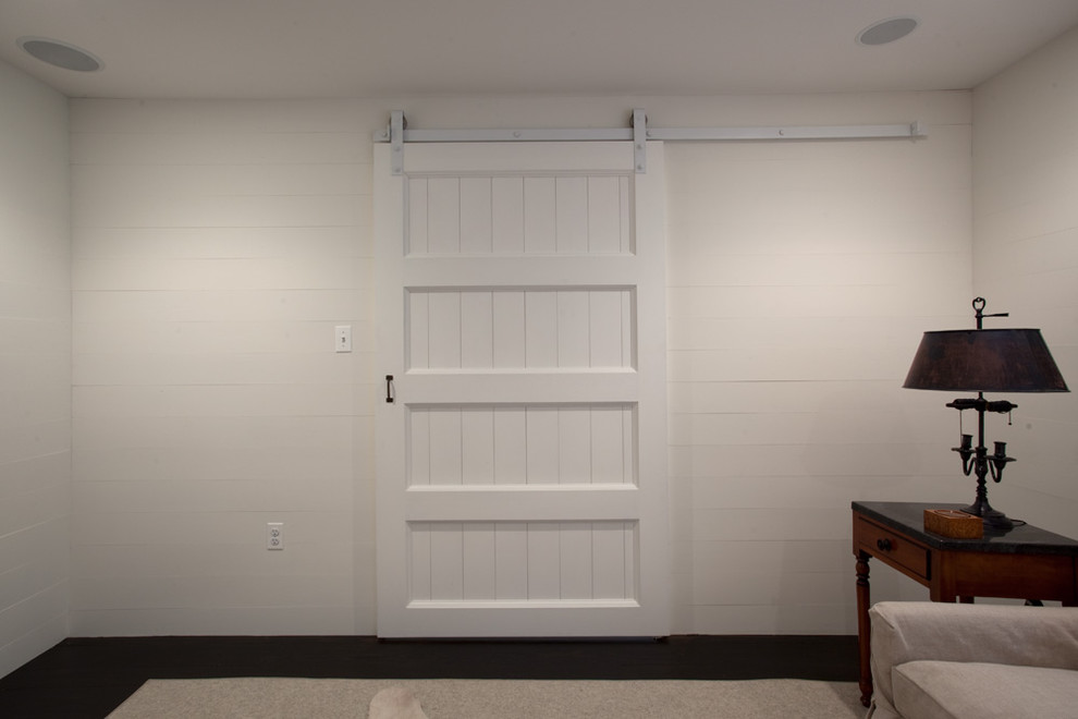 Inspiration for a farmhouse family room remodel in Philadelphia