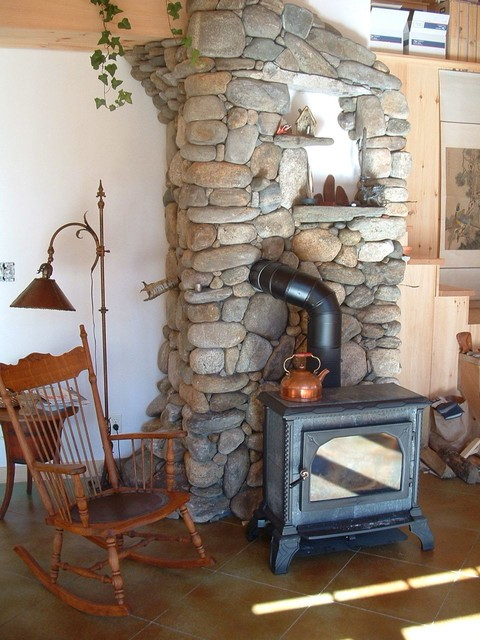 River Stone Wood Stove Surround rustic-family-room - River Stone Wood Stove Surround - Rustic - Family Room - Portland