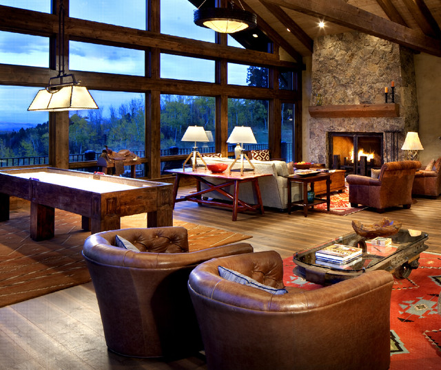 Genial Rocky Mountain Game Room Rustic Family Room