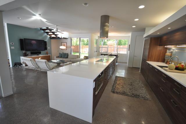 Rollingwood Residence Family Room/Kitchen Modern Family Room