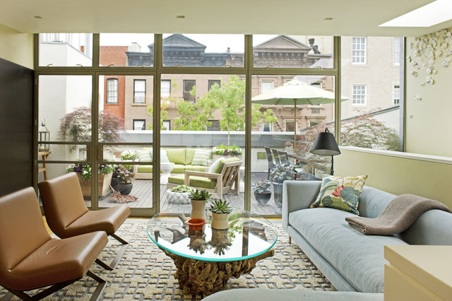 Roof Top Midcentury Family Room New York By Dufner