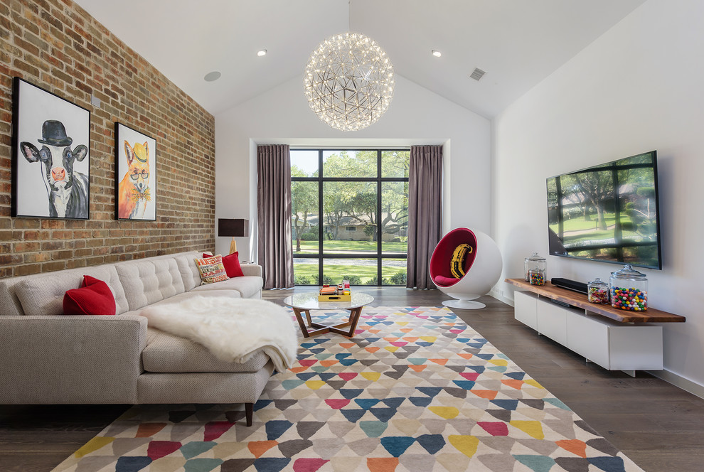 Family room - contemporary dark wood floor and brown floor family room idea in Dallas with white walls and a wall-mounted tv