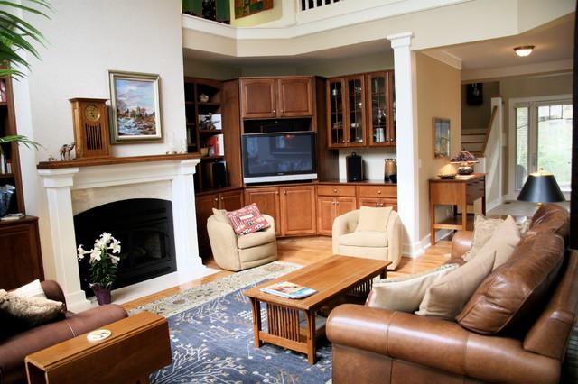 Rugged Craftsman Home Plan 26646GG craftsman-family-room