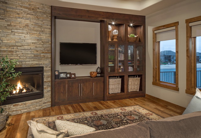 Rustic Chic Lakehouse Transitional Family Room Omaha